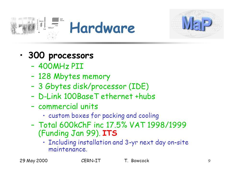 29 May 2000CERN-IT T. Bowcock9 Hardware 300 processors –400MHz PII –128 Mbytes memory –3 Gbytes disk/processor (IDE) –D-Link 100BaseT ethernet +hubs –