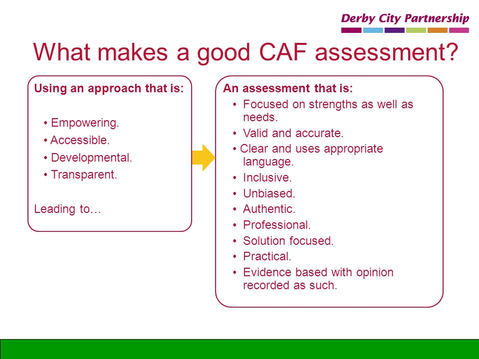 An assessment that is: Focused on strengths as well as needs. Valid and accurate. Clear and uses appropriate language. Inclusive. Unbiased. Authentic.