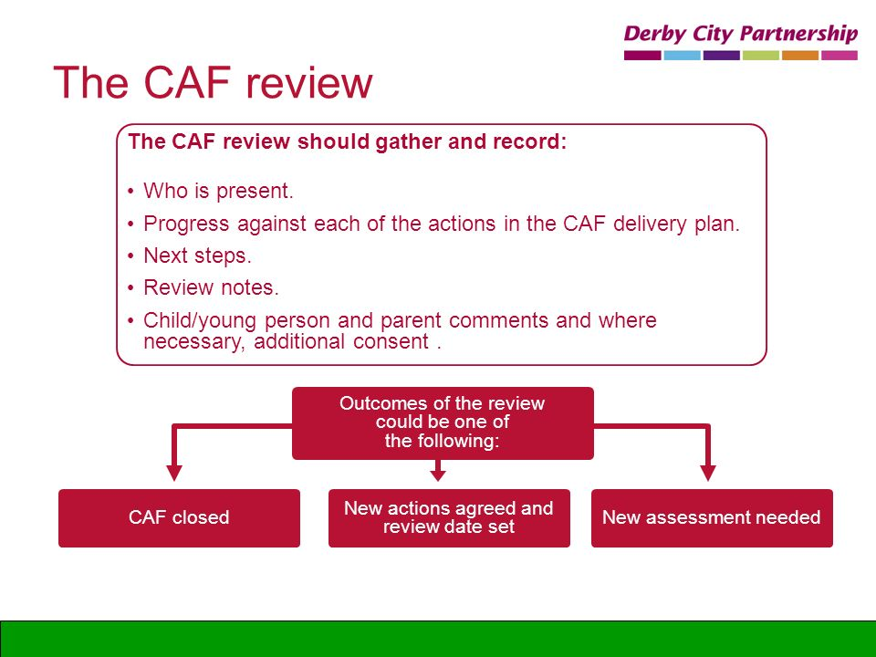 The CAF review The CAF review should gather and record: Who is present. Progress against each of the actions in the CAF delivery plan. Next steps. Rev