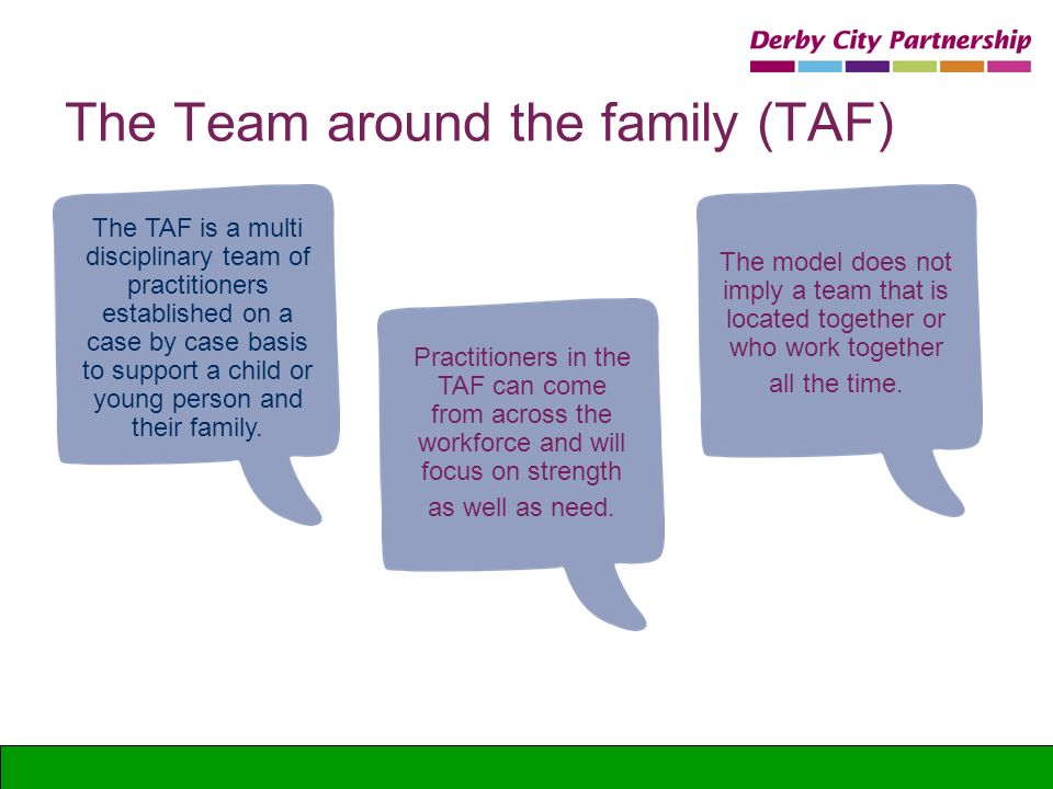 The Team around the family (TAF) The TAF is a multi disciplinary team of practitioners established on a case by case basis to support a child or young