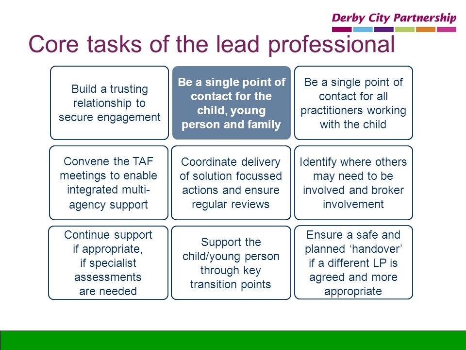 Core tasks of the lead professional Be a single point of contact for the child, young person and family Be a single point of contact for all practitio