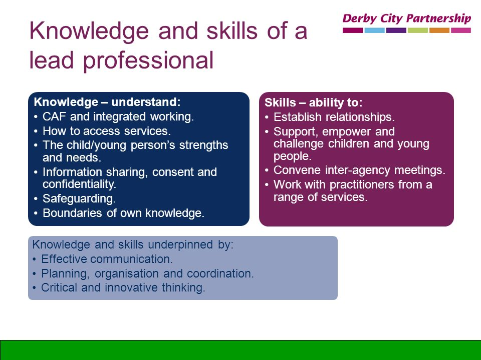 Knowledge and skills of a lead professional Knowledge – understand: CAF and integrated working. How to access services. The child/young persons streng