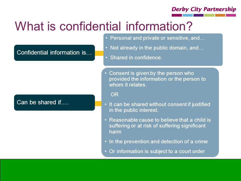 What is confidential information? Confidential information is… Can be shared if…. Personal and private or sensitive, and… Not already in the public do