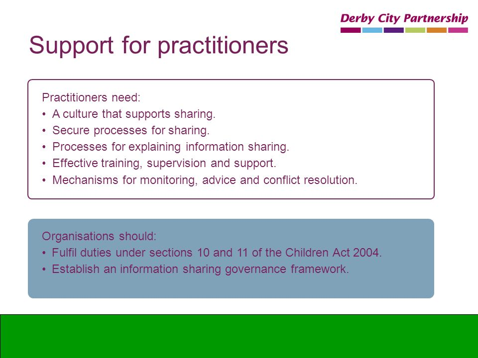 Support for practitioners Practitioners need: A culture that supports sharing. Secure processes for sharing. Processes for explaining information shar