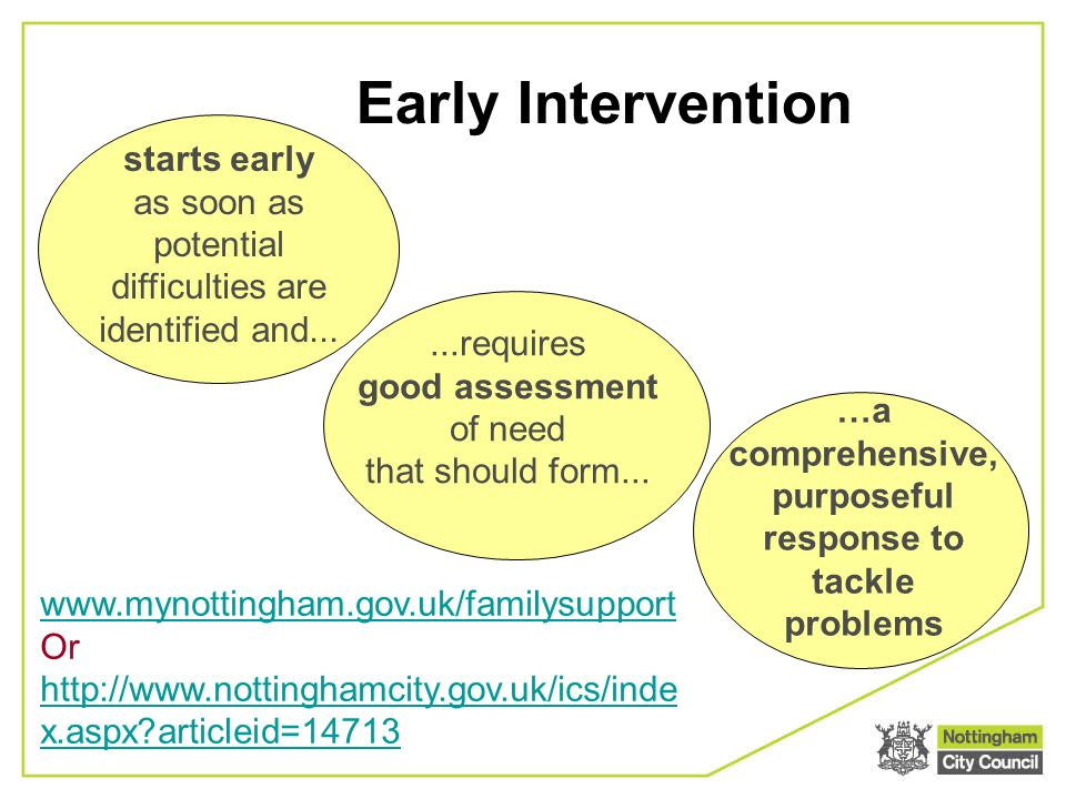 Early Intervention starts early as soon as potential difficulties are identified and......requires good assessment of need that should form...