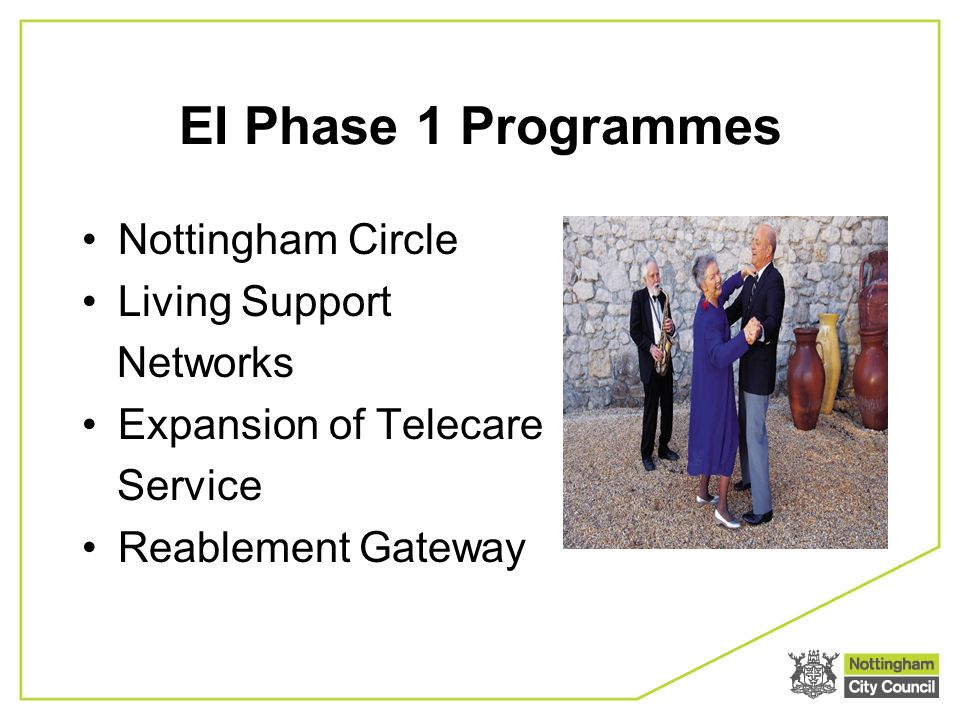 EI Phase 1 Programmes Nottingham Circle Living Support Networks Expansion of Telecare Service Reablement Gateway