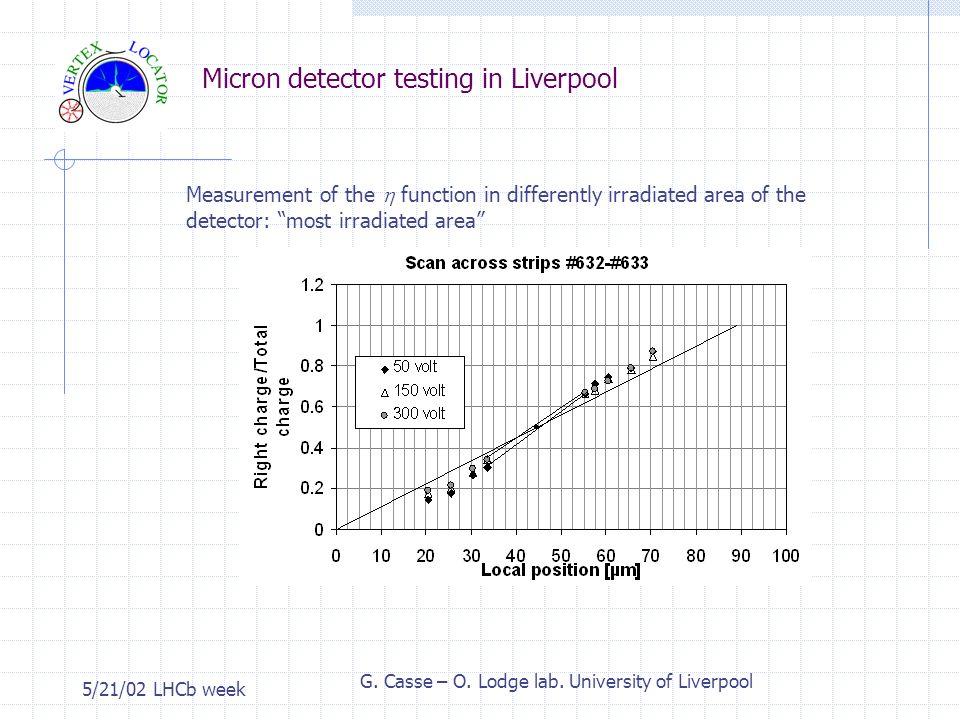 Micron detector testing in Liverpool 5/21/02 LHCb week G.