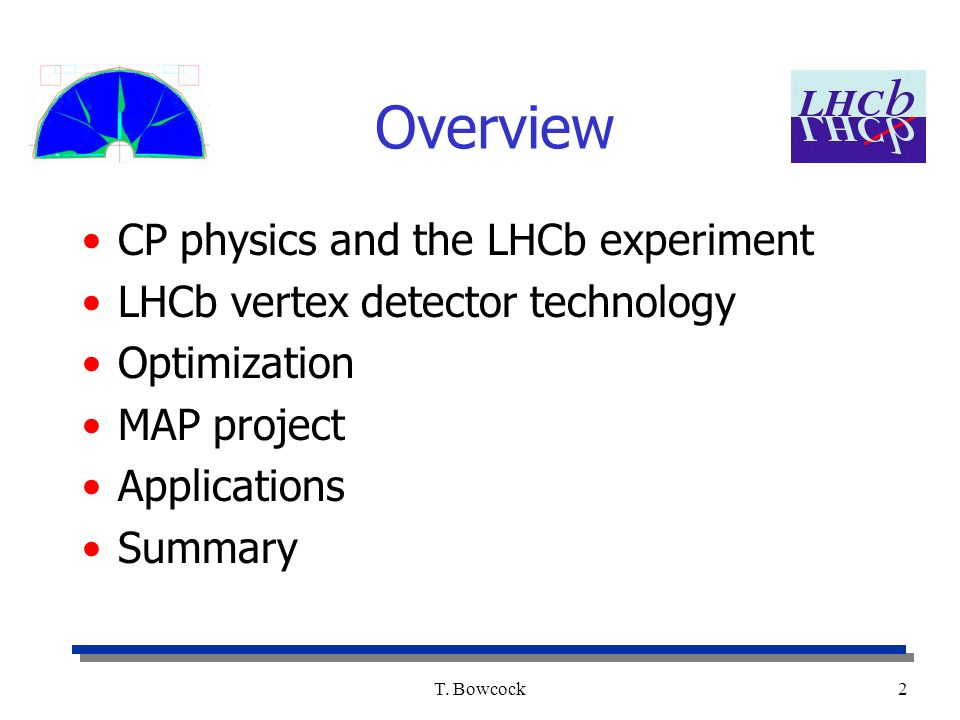 T. Bowcock2 Overview CP physics and the LHCb experiment LHCb vertex detector technology Optimization MAP project Applications Summary