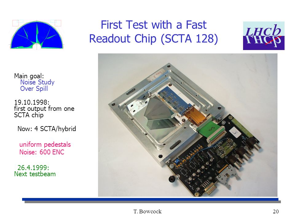 T. Bowcock20 First Test with a Fast Readout Chip (SCTA 128) Main goal: Noise Study Over Spill 19.10.1998: first output from one SCTA chip Now: 4 SCTA/