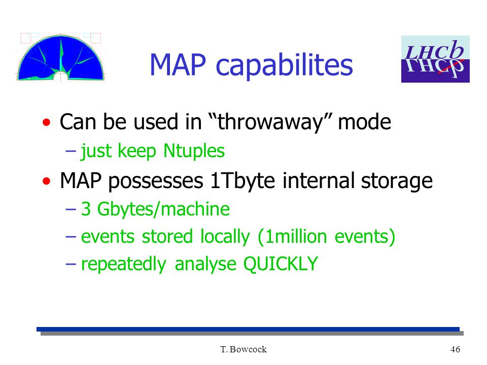 T. Bowcock46 MAP capabilites Can be used in throwaway mode –just keep Ntuples MAP possesses 1Tbyte internal storage –3 Gbytes/machine –events stored l