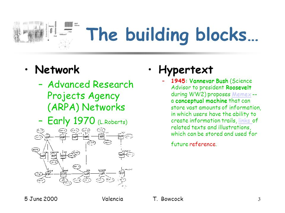 5 June 2000Valencia T. Bowcock3 The building blocks… Network –Advanced Research Projects Agency (ARPA) Networks –Early 1970 (L.Roberts) Hypertext –194