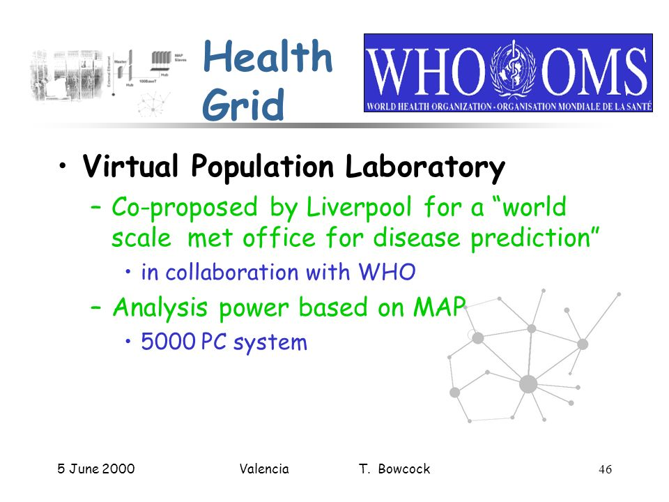5 June 2000Valencia T. Bowcock46 Health Grid Virtual Population Laboratory –Co-proposed by Liverpool for a world scale met office for disease predicti
