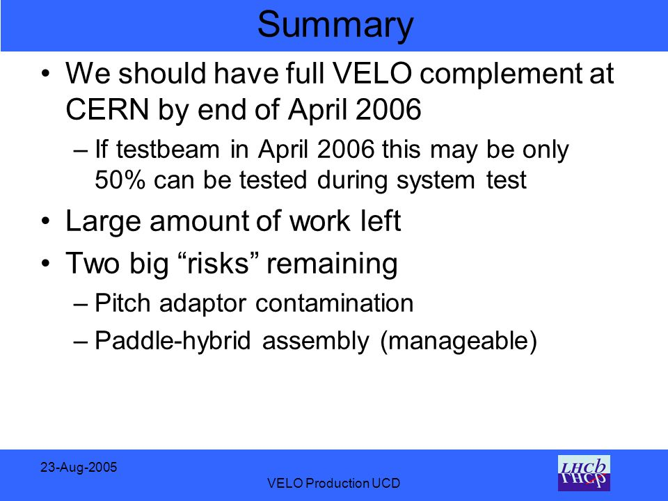 23-Aug-2005 VELO Production UCD Summary We should have full VELO complement at CERN by end of April 2006 –If testbeam in April 2006 this may be only 50% can be tested during system test Large amount of work left Two big risks remaining –Pitch adaptor contamination –Paddle-hybrid assembly (manageable)