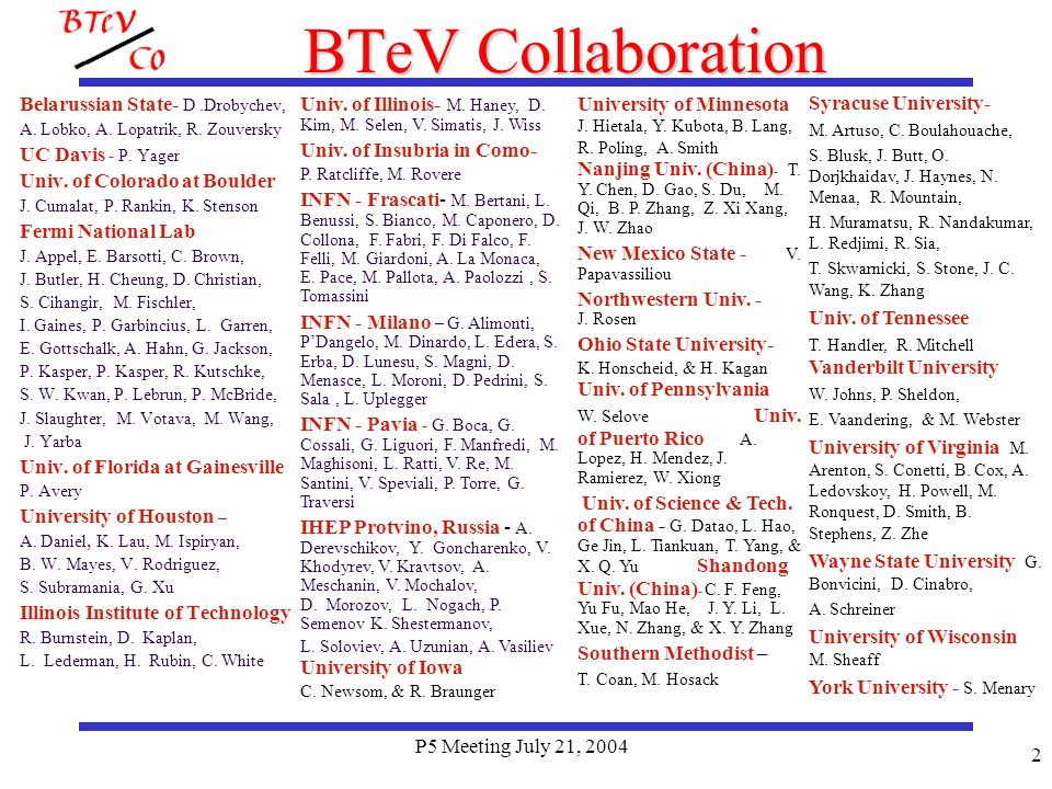 P5 Meeting July 21, 2004 23 BTeVs Schedule Stage I starts August 1, 2009 Then we run until July 1, 2010 Expect about 1 month to commission IR Expect about 1 month commissioning time then we produce physics (See Joels talk) Summary of Stage 1 Estimate 6 months running time Lab says that we will run 10 months a year and get 1.6 fb -1 Thus this is a 1 fb -1 run We have 75% of our normal rate on all charged flavor tagged modes We have 75% x 60% = 45% of our normal rate on flavor tagged modes with neutrals Some Commissioning done before on wire target or at end of stores and during the 1 month IR commissioning – New IR has 2.5 x than when BTeV was approved by P5!