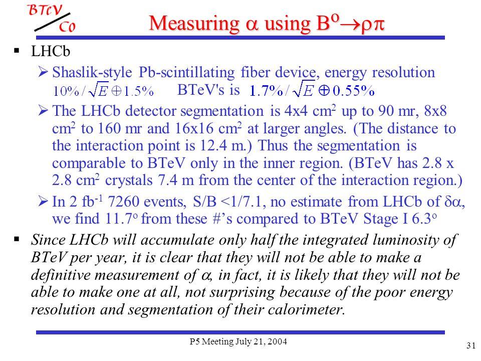 P5 Meeting July 21, 2004 31 Measuring using B o LHCb Shaslik-style Pb-scintillating fiber device, energy resolution BTeV s is The LHCb detector segmentation is 4x4 cm 2 up to 90 mr, 8x8 cm 2 to 160 mr and 16x16 cm 2 at larger angles.