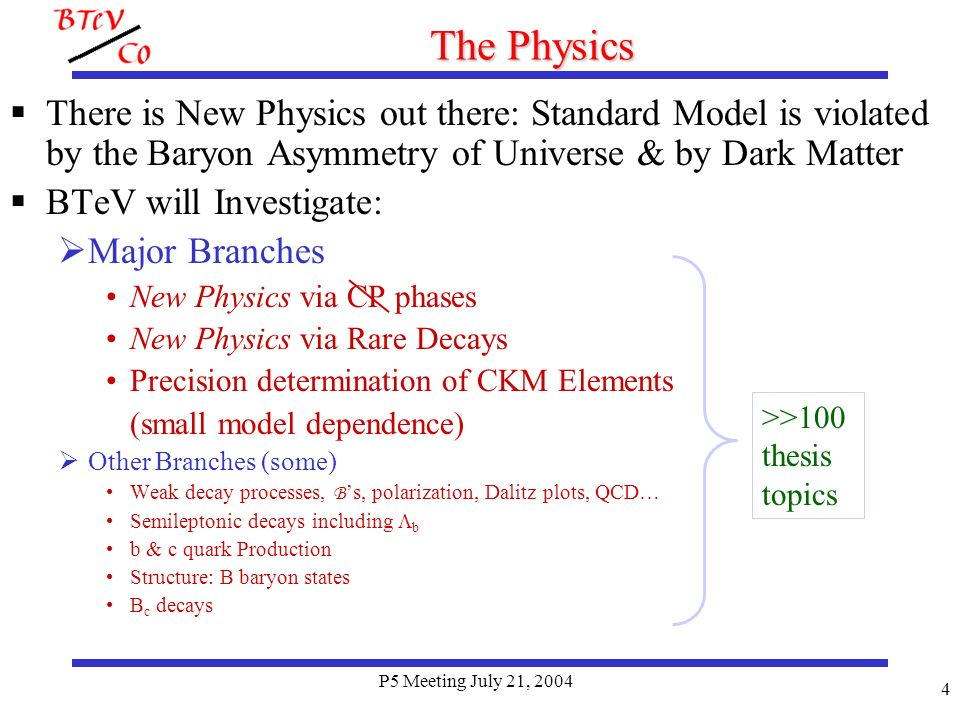 P5 Meeting July 21, 2004 4 The Physics There is New Physics out there: Standard Model is violated by the Baryon Asymmetry of Universe & by Dark Matter BTeV will Investigate: Major Branches New Physics via CP phases New Physics via Rare Decays Precision determination of CKM Elements (small model dependence) Other Branches (some) Weak decay processes, B s, polarization, Dalitz plots, QCD… Semileptonic decays including b b & c quark Production Structure: B baryon states B c decays >>100 thesis topics