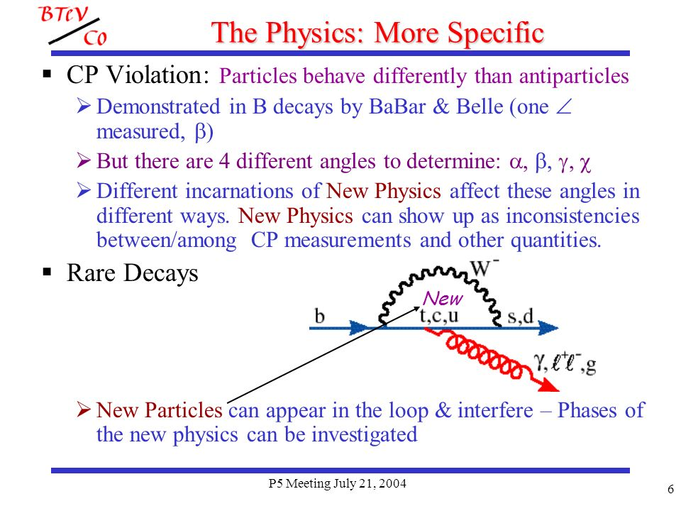P5 Meeting July 21, 2004 7 Current Hints of New Physics These ratios should be 1: May be caused by NP mimicking electroweak penguins (see Buras et al hep-ph/0312259, Nandi & Kundu hep-ph/0407061) Nandi & Kundu say look at B CPV as b d penguin amplitude should have a NP component Buras says spectacular effects in forward- backward asymmetry in B K* due to NP, also effects in b s penguin such as B K s