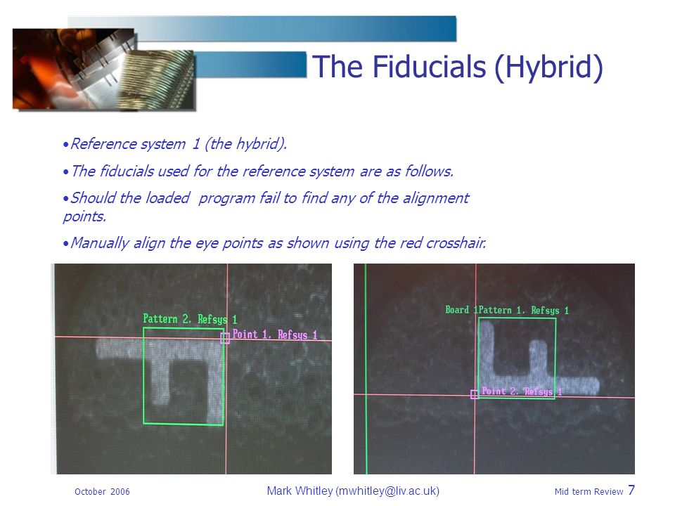 October 2006 Mark Whitley Mid term Review 7 The Fiducials (Hybrid) Reference system 1 (the hybrid).