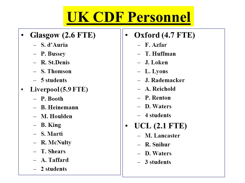 UK CDF Personnel Glasgow (2.6 FTE) –S. dAuria –P. Bussey –R. St.Denis –S. Thomson –5 students Liverpool (5.9 FTE) –P. Booth –B. Heinemann –M. Houlden