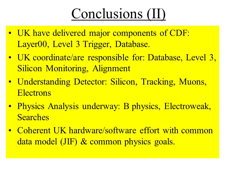 Conclusions (II) UK have delivered major components of CDF: Layer00, Level 3 Trigger, Database.