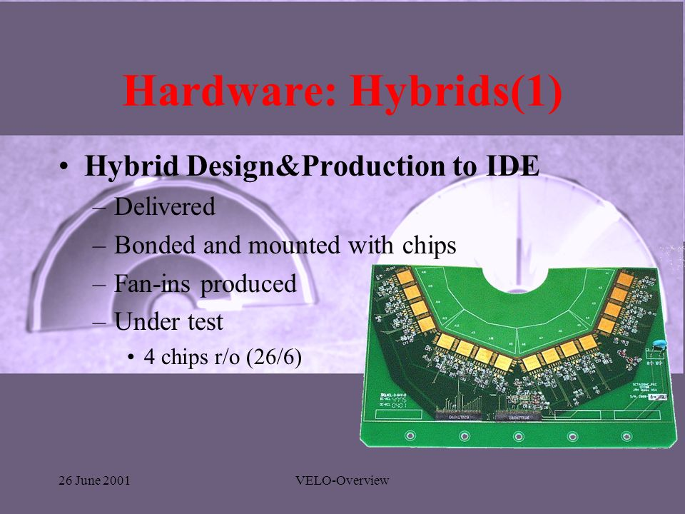 26 June 2001VELO-Overview Hardware: Hybrids(1) Hybrid Design&Production to IDE –Delivered –Bonded and mounted with chips –Fan-ins produced –Under test 4 chips r/o (26/6)