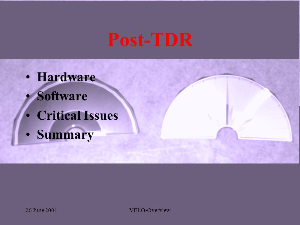 26 June 2001VELO-Overview Post-TDR Hardware Software Critical Issues Summary