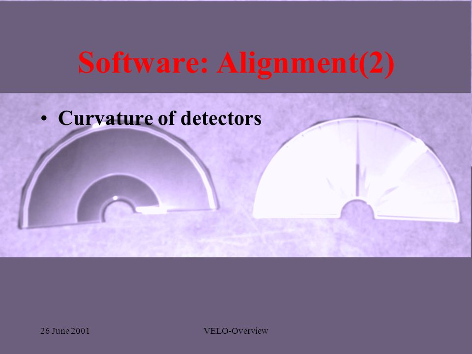 26 June 2001VELO-Overview Software: Alignment(2) Curvature of detectors