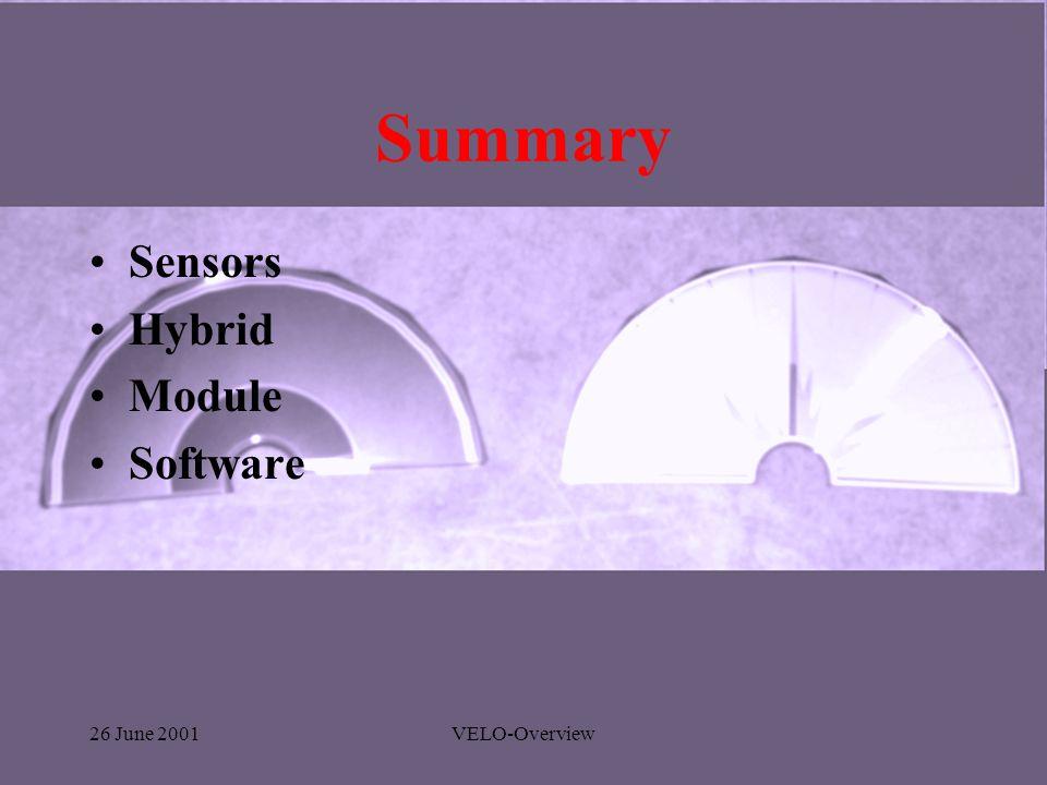 26 June 2001VELO-Overview Summary Sensors Hybrid Module Software