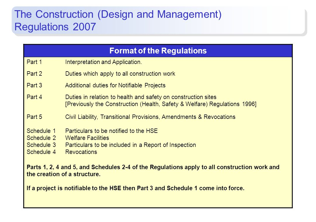 Format of the Regulations Part 1Interpretation and Application. Part 2Duties which apply to all construction work Part 3Additional duties for Notifiab