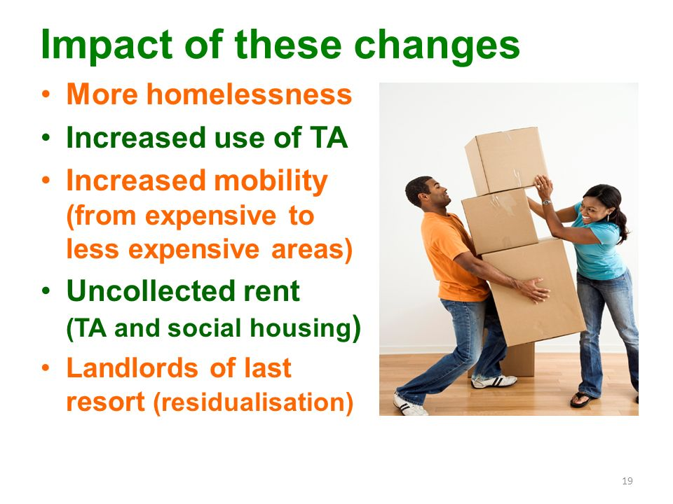 Impact of these changes More homelessness Increased use of TA Increased mobility (from expensive to less expensive areas) Uncollected rent (TA and social housing ) Landlords of last resort (residualisation) 19