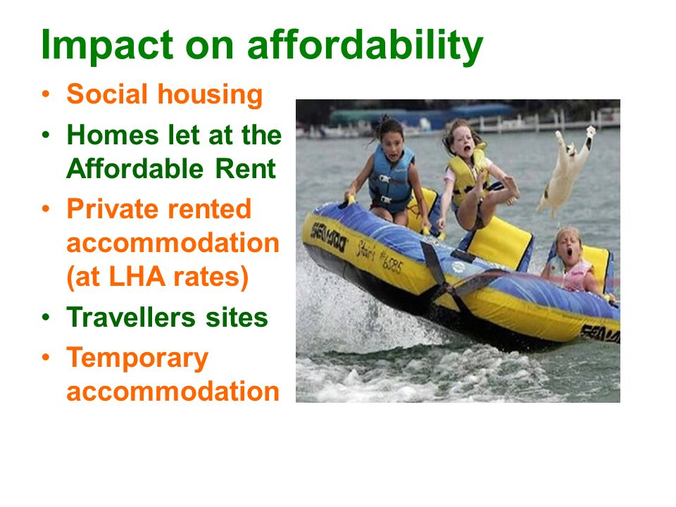 Impact on affordability Social housing Homes let at the Affordable Rent Private rented accommodation (at LHA rates) Travellers sites Temporary accommodation