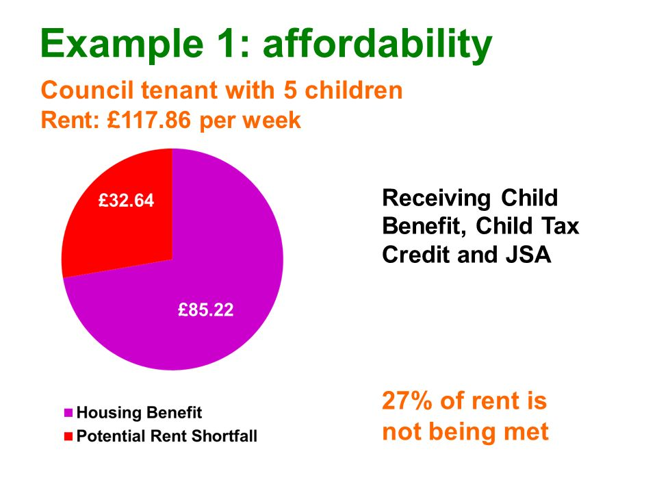 Example 1: affordability Council tenant with 5 children Rent: £117.86 per week 27% of rent is not being met Receiving Child Benefit, Child Tax Credit