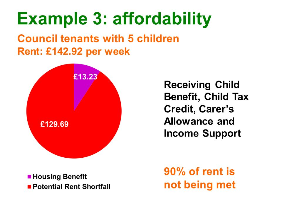 Example 3: affordability Council tenants with 5 children Rent: £142.92 per week 90% of rent is not being met Receiving Child Benefit, Child Tax Credit, Carers Allowance and Income Support