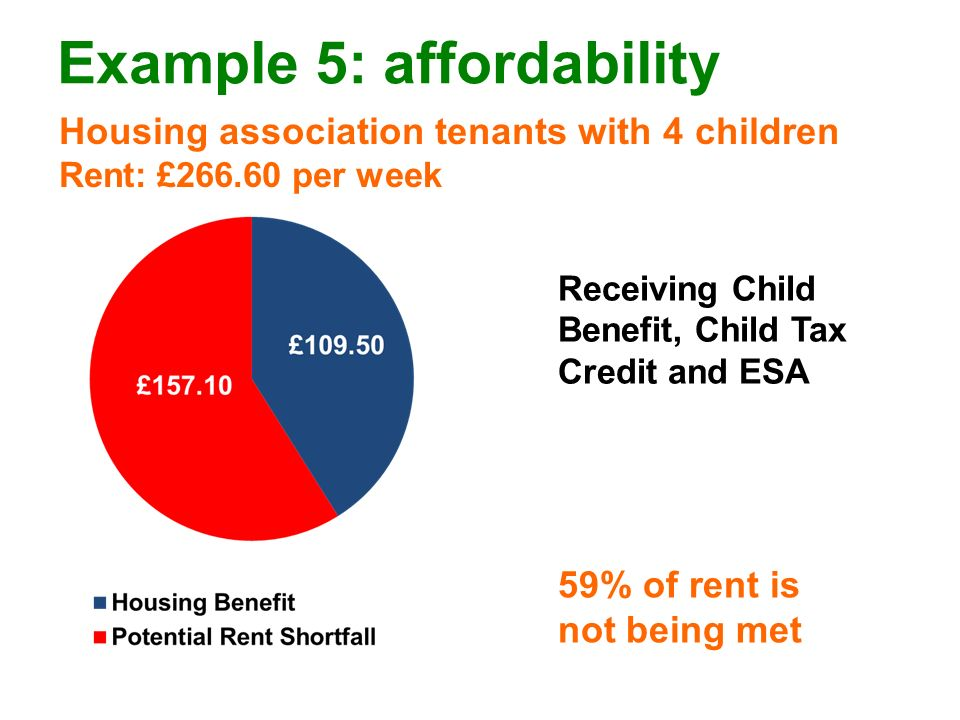 Example 5: affordability Housing association tenants with 4 children Rent: £266.60 per week 59% of rent is not being met Receiving Child Benefit, Child Tax Credit and ESA