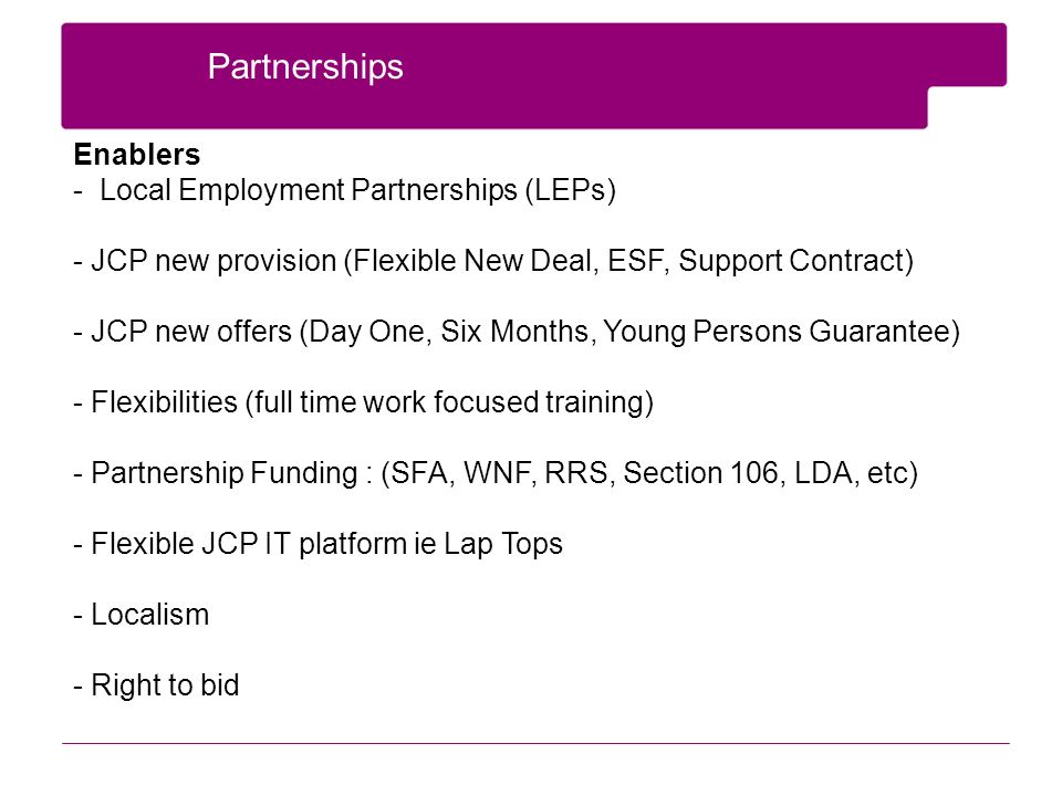 Partnerships Enablers - Local Employment Partnerships (LEPs) - JCP new provision (Flexible New Deal, ESF, Support Contract) - JCP new offers (Day One, Six Months, Young Persons Guarantee) - Flexibilities (full time work focused training) - Partnership Funding : (SFA, WNF, RRS, Section 106, LDA, etc) - Flexible JCP IT platform ie Lap Tops - Localism - Right to bid