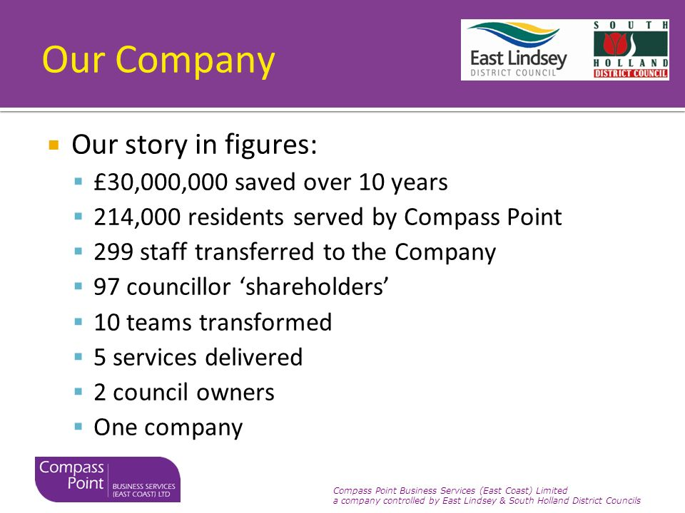 Compass Point Business Services (East Coast) Limited a company controlled by East Lindsey & South Holland District Councils Our Company Our story in figures: £30,000,000 saved over 10 years 214,000 residents served by Compass Point 299 staff transferred to the Company 97 councillor shareholders 10 teams transformed 5 services delivered 2 council owners One company
