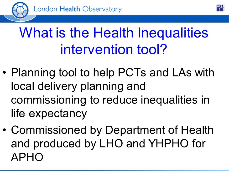 What is the Health Inequalities intervention tool.
