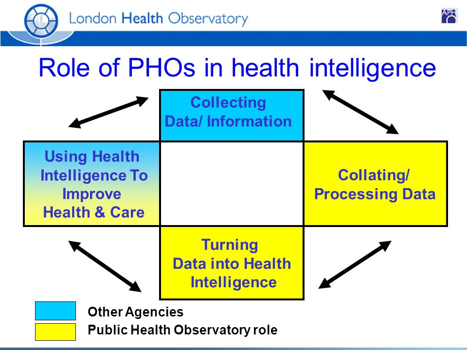 Collating/ Processing Data Turning Data into Health Intelligence Collecting Data/ Information Using Health Intelligence To Improve Health & Care Other