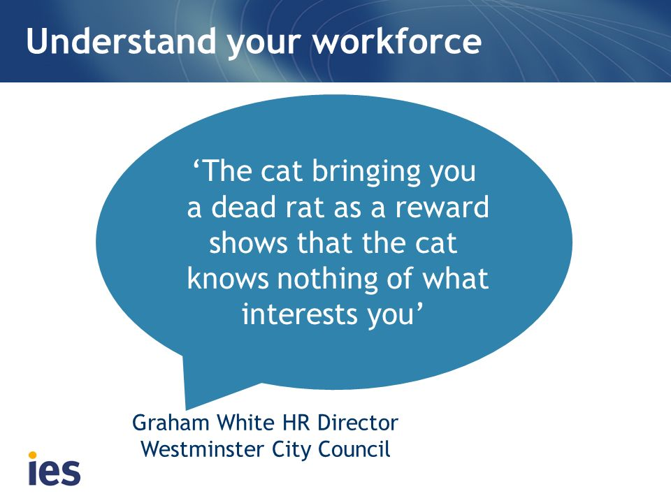 Understand your workforce The cat bringing you a dead rat as a reward shows that the cat knows nothing of what interests you Graham White HR Director Westminster City Council