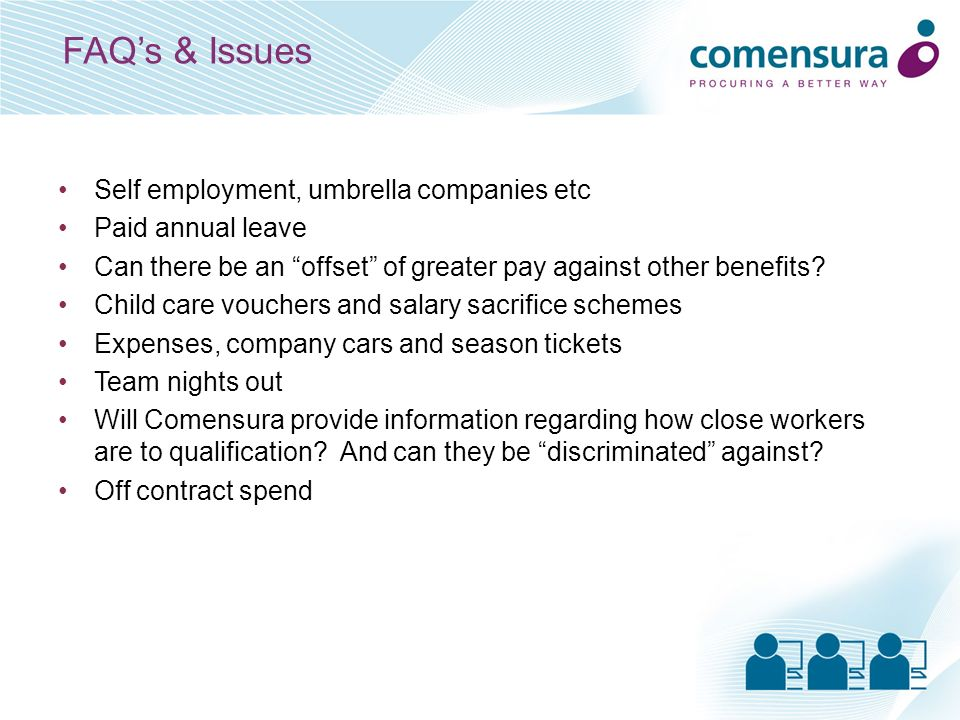 FAQs & Issues Self employment, umbrella companies etc Paid annual leave Can there be an offset of greater pay against other benefits? Child care vouch