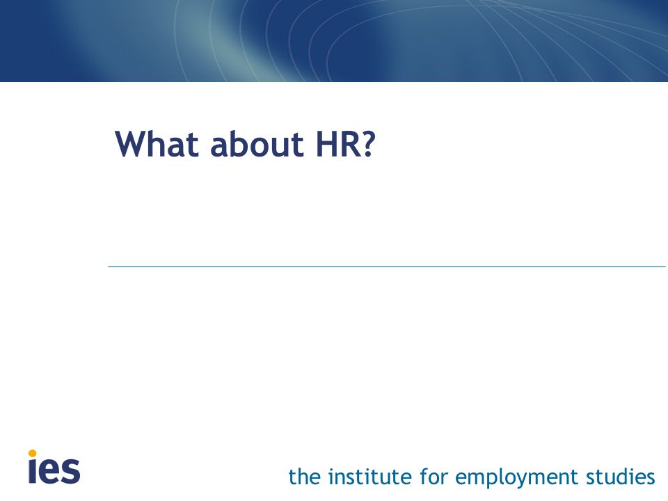 the institute for employment studies What about HR?