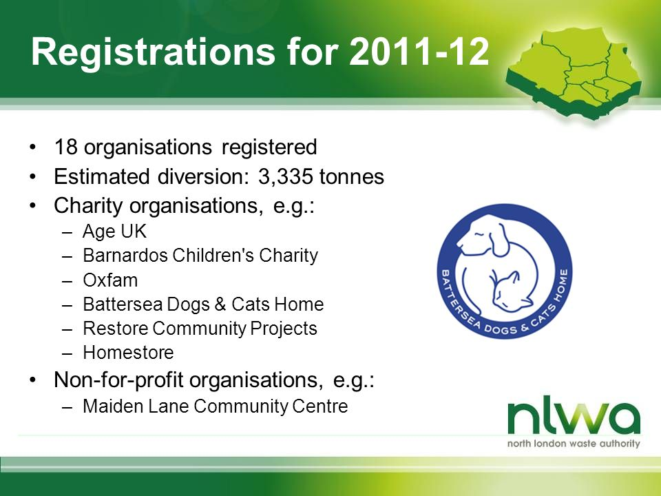 Registrations for 2011-12 18 organisations registered Estimated diversion: 3,335 tonnes Charity organisations, e.g.: –Age UK –Barnardos Children s Charity –Oxfam –Battersea Dogs & Cats Home –Restore Community Projects –Homestore Non-for-profit organisations, e.g.: –Maiden Lane Community Centre