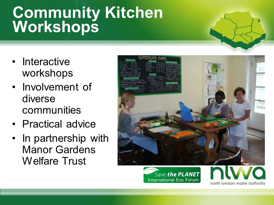 Community Kitchen Workshops Interactive workshops Involvement of diverse communities Practical advice In partnership with Manor Gardens Welfare Trust