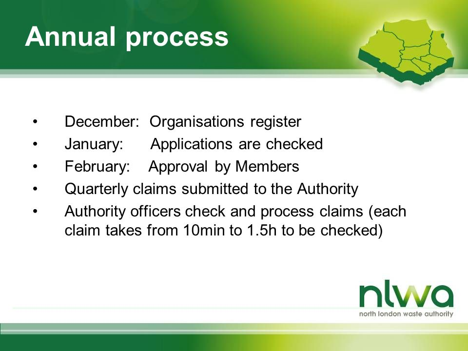 Annual process December: Organisations register January: Applications are checked February: Approval by Members Quarterly claims submitted to the Authority Authority officers check and process claims (each claim takes from 10min to 1.5h to be checked)