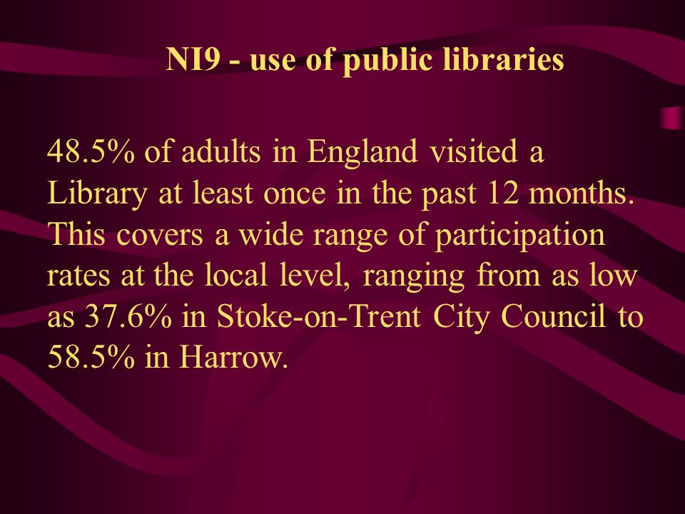 NI9 - use of public libraries 48.5% of adults in England visited a Library at least once in the past 12 months.