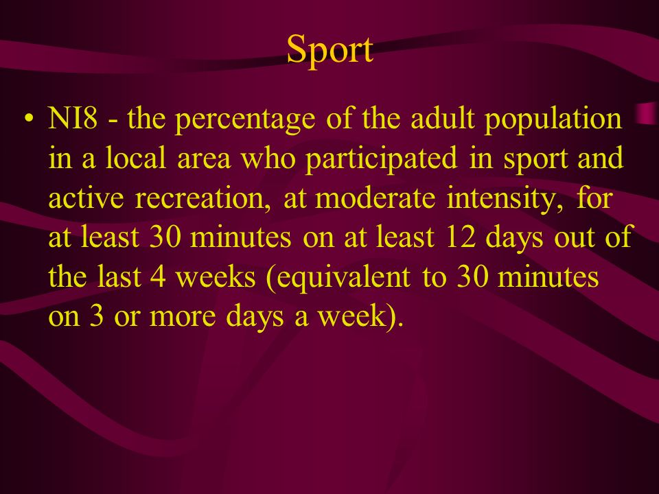 Sport NI8 - the percentage of the adult population in a local area who participated in sport and active recreation, at moderate intensity, for at least 30 minutes on at least 12 days out of the last 4 weeks (equivalent to 30 minutes on 3 or more days a week).