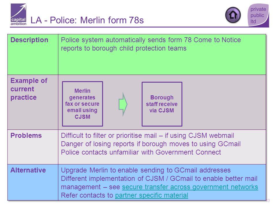 13 Merlin generates fax or secure email using CJSM Borough staff receive via CJSM LA - Police: Merlin form 78s
