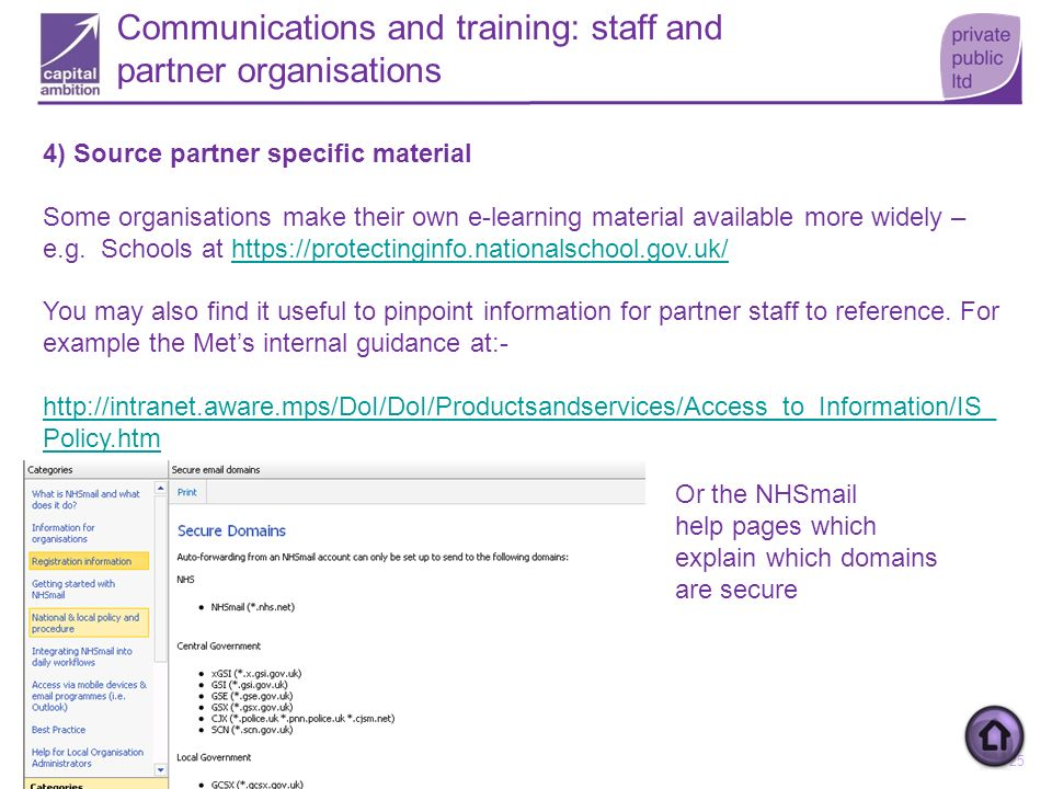 25 Communications and training: staff and partner organisations 4) Source partner specific material Some organisations make their own e-learning mater