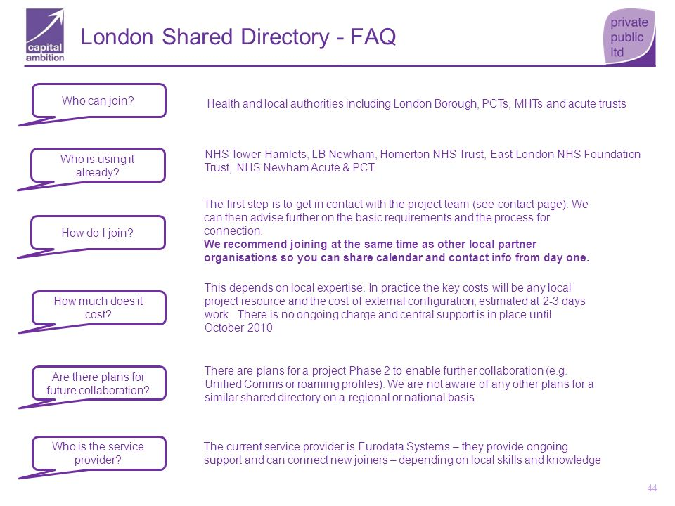 44 London Shared Directory - FAQ Who can join? Health and local authorities including London Borough, PCTs, MHTs and acute trusts Who is using it alre