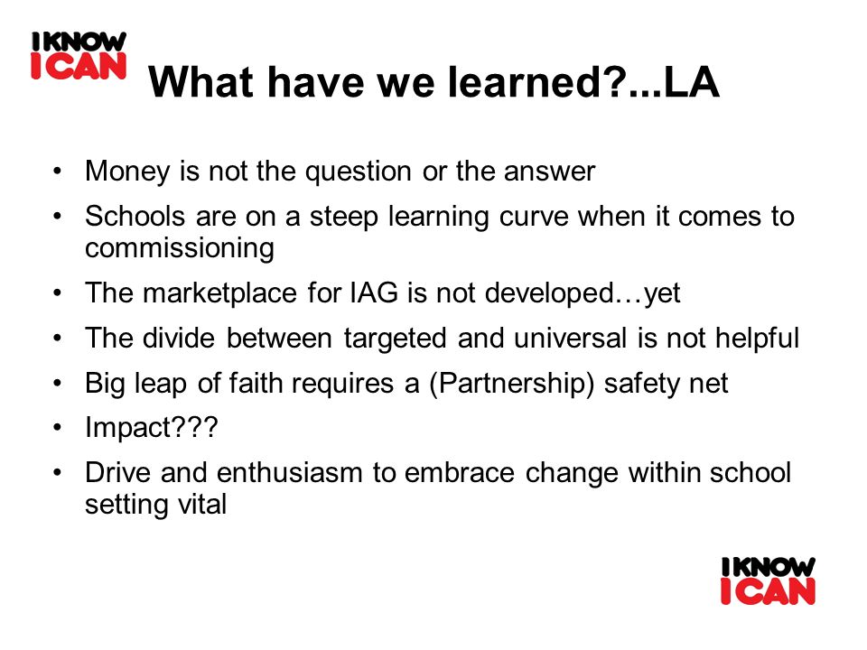 What have we learned?...LA Money is not the question or the answer Schools are on a steep learning curve when it comes to commissioning The marketplac